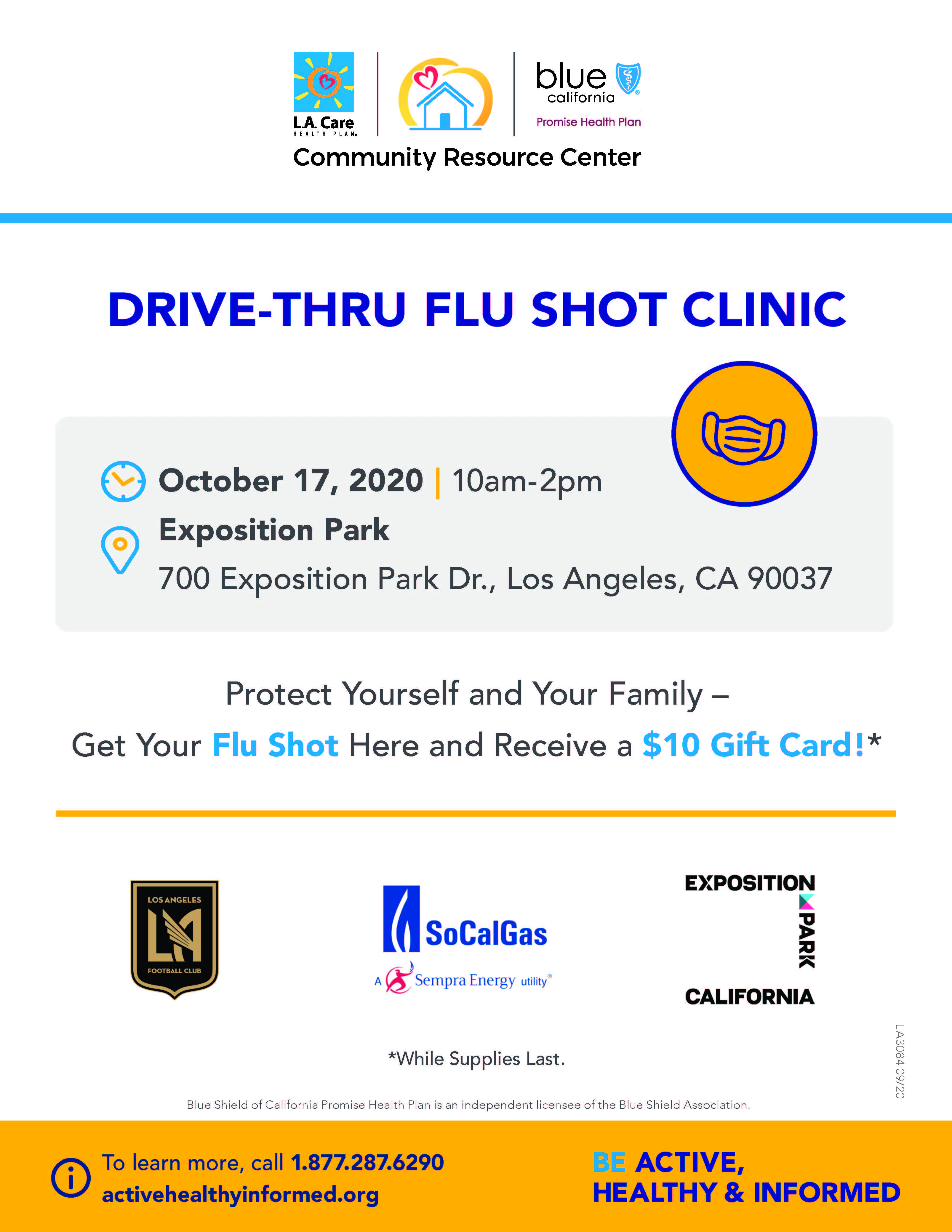 LA Care Drive Thru Flu Shot Clinic on October 17, 2020 at Exposition Park 700 Exposition Drive, Los Angeles CA 90037